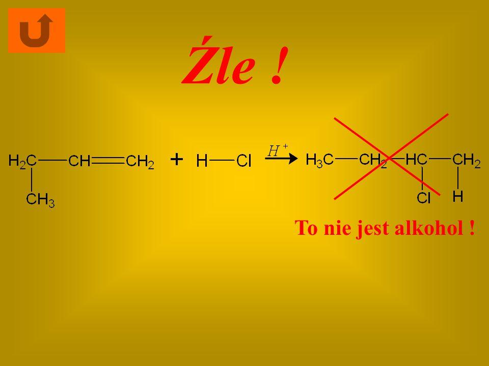 Dokończ równanie reakcji substytucji, w której powstaje alkohol: Kliknij właściwy substrat
