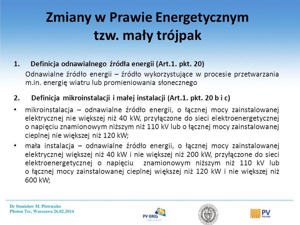 Zmiany w Prawie Energetycznym tzw. mały trójpak 1.Definicja odnawialnego źródła energii (Art.1. pkt. 20) Odnawialne źródło energii – źródło wykorzystu