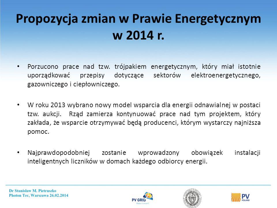 Porzucono prace nad tzw. trójpakiem energetycznym, który miał istotnie uporządkować przepisy dotyczące sektorów elektroenergetycznego, gazowniczego i