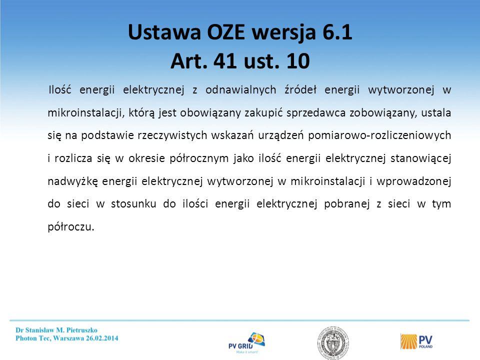 Ustawa OZE wersja 6.1 Art. 41 ust. 10 Ilość energii elektrycznej z odnawialnych źródeł energii wytworzonej w mikroinstalacji, którą jest obowiązany za