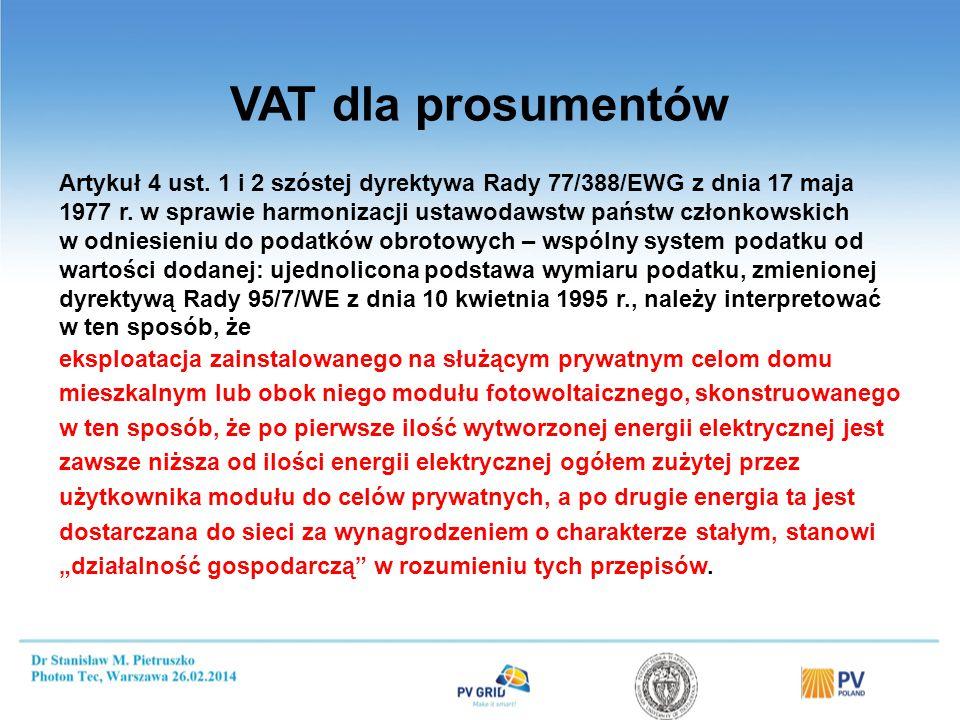 VAT dla prosumentów Artykuł 4 ust. 1 i 2 szóstej dyrektywa Rady 77/388/EWG z dnia 17 maja 1977 r. w sprawie harmonizacji ustawodawstw państw członkows