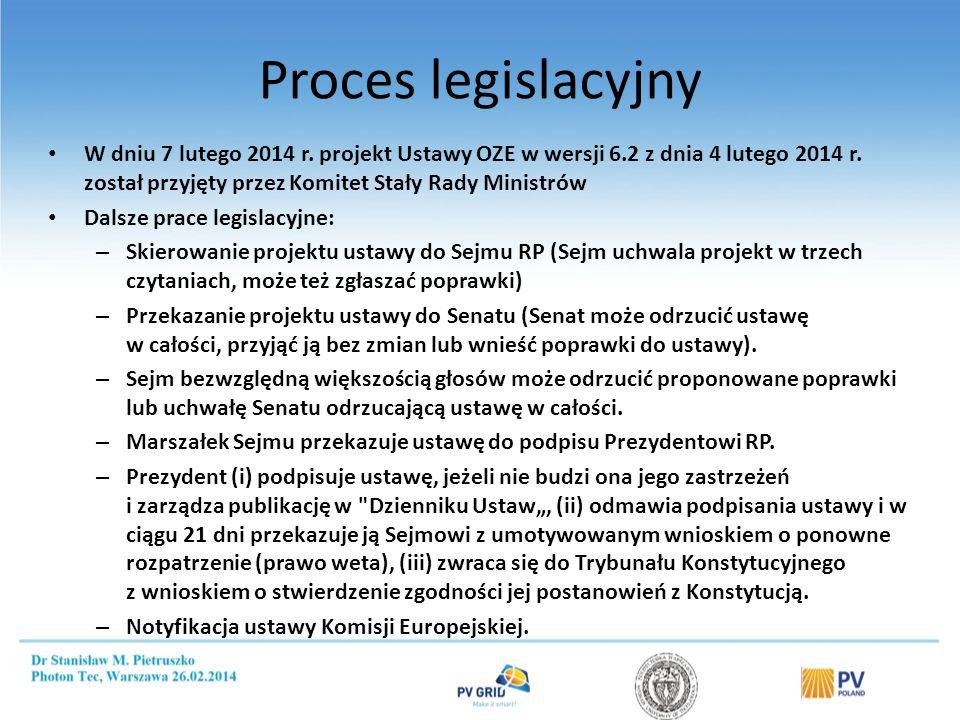 Proces legislacyjny W dniu 7 lutego 2014 r.projekt Ustawy OZE w wersji 6.2 z dnia 4 lutego 2014 r.
