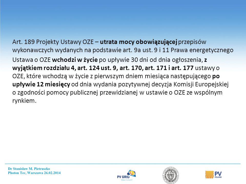 Art. 189 Projekty Ustawy OZE – utrata mocy obowiązującej przepisów wykonawczych wydanych na podstawie art. 9a ust. 9 i 11 Prawa energetycznego Ustawa