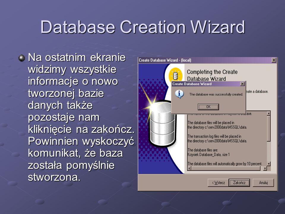 Database Creation Wizard Na ostatnim ekranie widzimy wszystkie informacje o nowo tworzonej bazie danych także pozostaje nam kliknięcie na zakończ. Pow