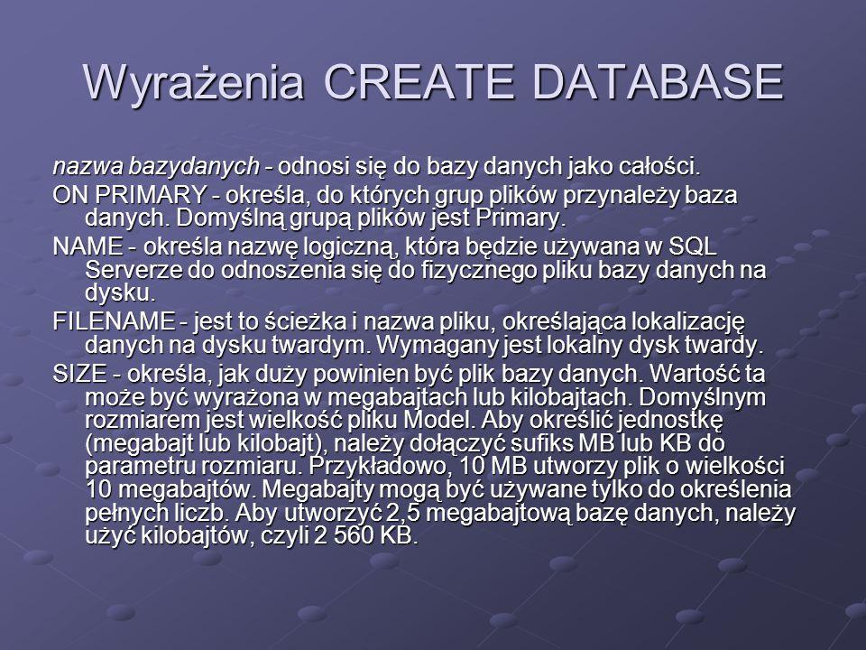 nazwa bazydanych - odnosi się do bazy danych jako całości. ON PRIMARY - określa, do których grup plików przynależy baza danych. Domyślną grupą plików