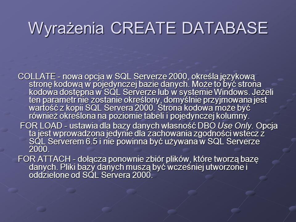 Wyrażenia CREATE DATABASE COLLATE - nowa opcja w SQL Serverze 2000, określa językową stronę kodową w pojedynczej bazie danych. Może to być strona kodo