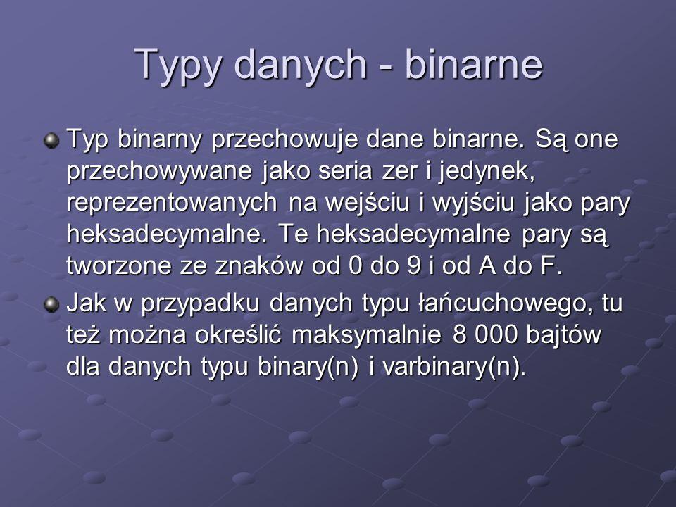 Typy danych - binarne Typ binarny przechowuje dane binarne. Są one przechowywane jako seria zer i jedynek, reprezentowanych na wejściu i wyjściu jako