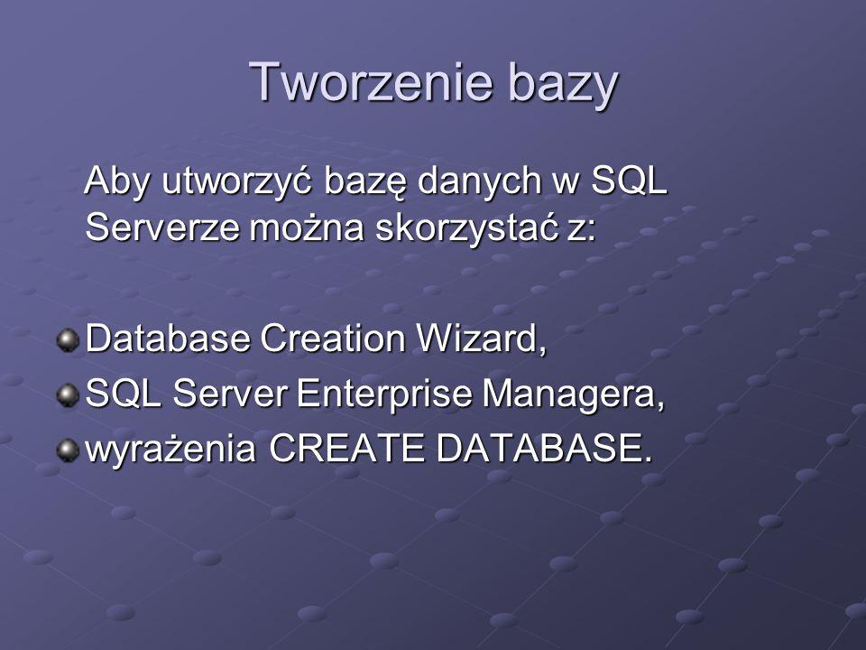Tworzenie bazy Aby utworzyć bazę danych w SQL Serverze można skorzystać z: Aby utworzyć bazę danych w SQL Serverze można skorzystać z: Database Creation Wizard, SQL Server Enterprise Managera, wyrażenia CREATE DATABASE.