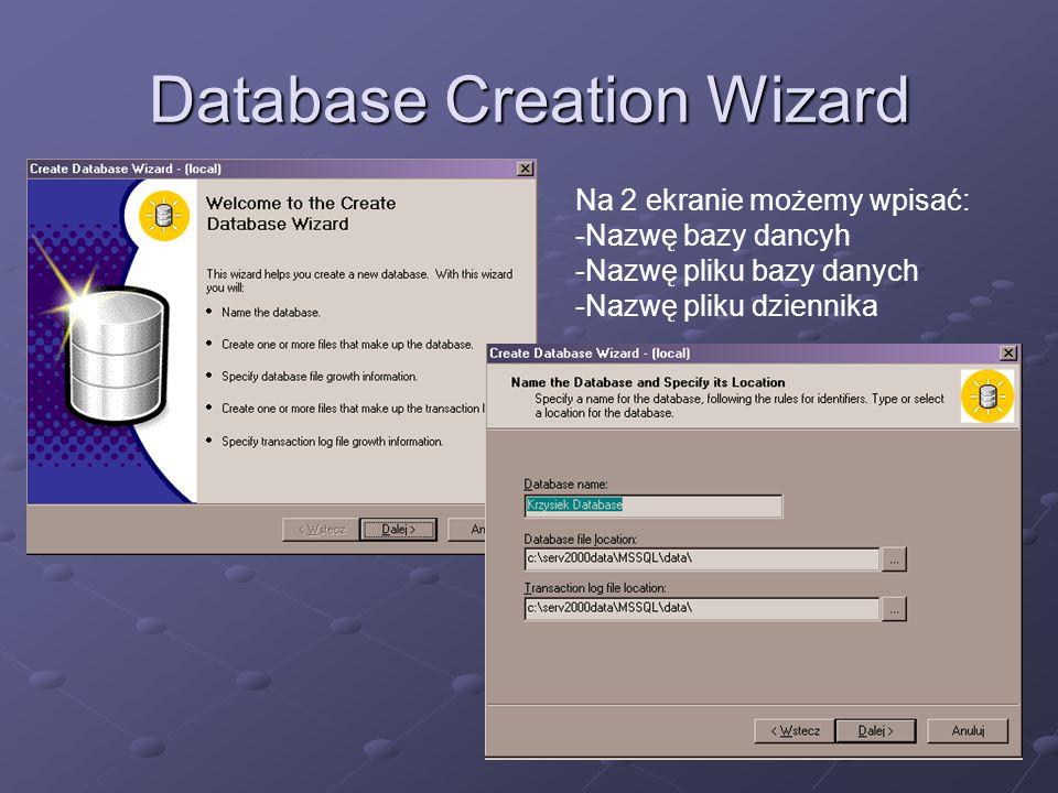 Database Creation Wizard Na 3 ekranie podajemy początkowe rozmiary plików tworzonej bazy danych