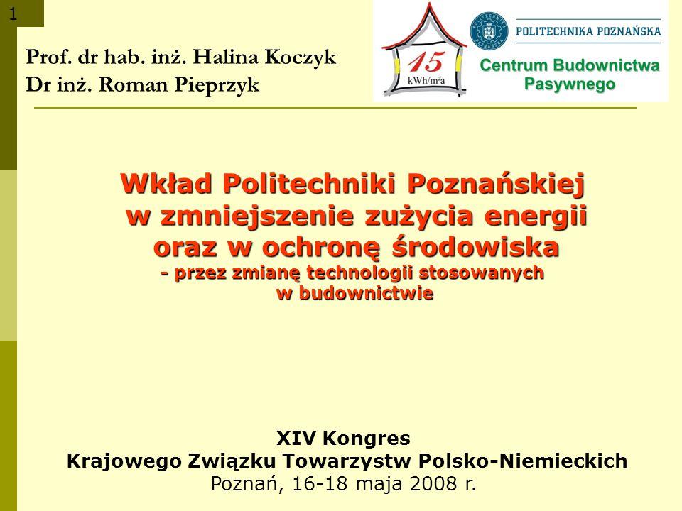 1 Prof. dr hab. inż. Halina Koczyk Dr inż. Roman Pieprzyk Wkład Politechniki Poznańskiej w zmniejszenie zużycia energii w zmniejszenie zużycia energii