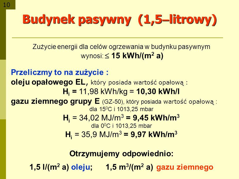 10 Budynek pasywny (1,5 – litrowy) Zużycie energii dla celów ogrzewania w budynku pasywnym wynosi: 15 kWh/(m 2 a) Przeliczmy to na zużycie : oleju opa