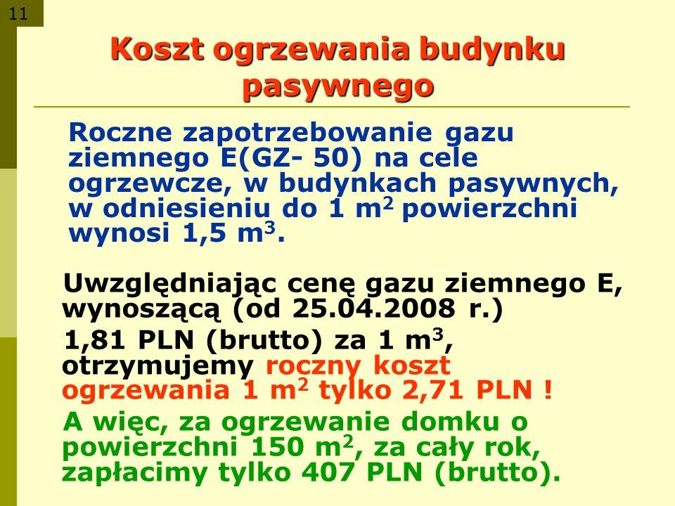 11 Koszt ogrzewania budynku pasywnego Roczne zapotrzebowanie gazu ziemnego E(GZ- 50) na cele ogrzewcze, w budynkach pasywnych, w odniesieniu do 1 m 2