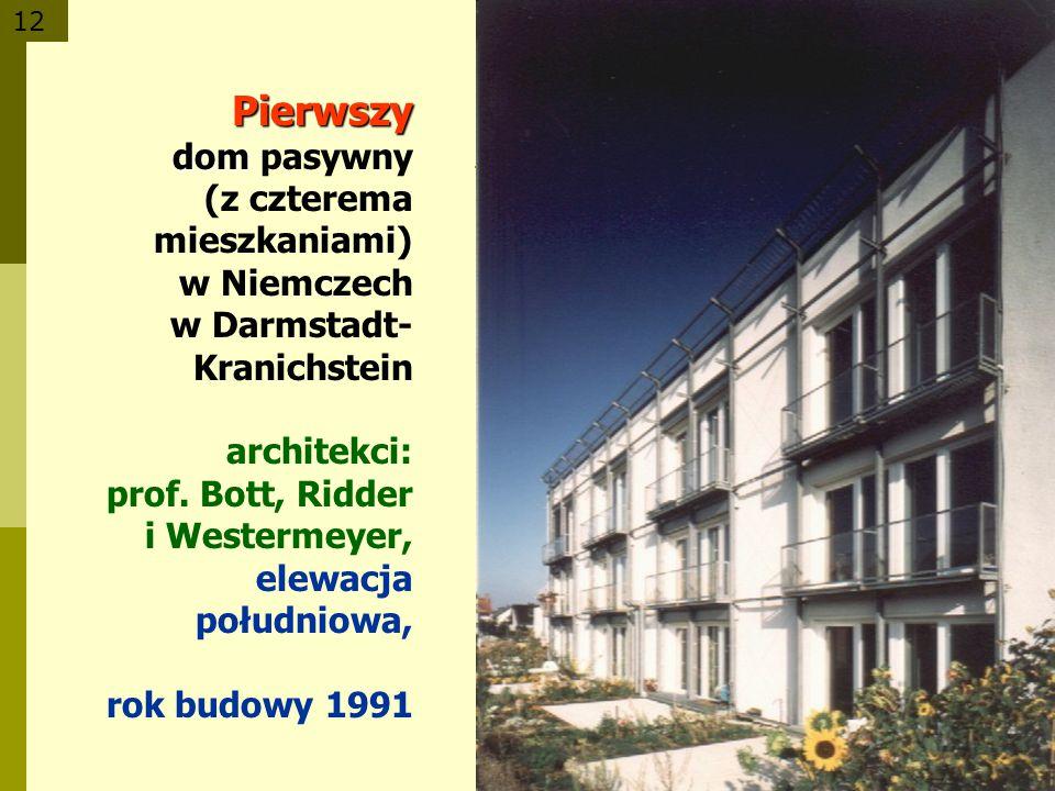12 Pierwszy dom Pierwszy dom pasywny (z czterema mieszkaniami) w Niemczech w Darmstadt- Kranichstein architekci: prof. Bott, Ridder i Westermeyer, ele