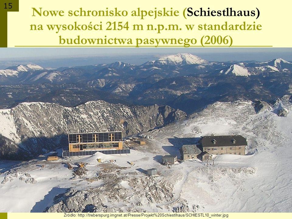 15 Źródło: http://treberspurg.imgnet.at/Presse/Projekt%20Schiestlhaus/SCHIESTL10_winter.jpg Nowe schronisko alpejskie (Schiestlhaus) na wysokości 2154