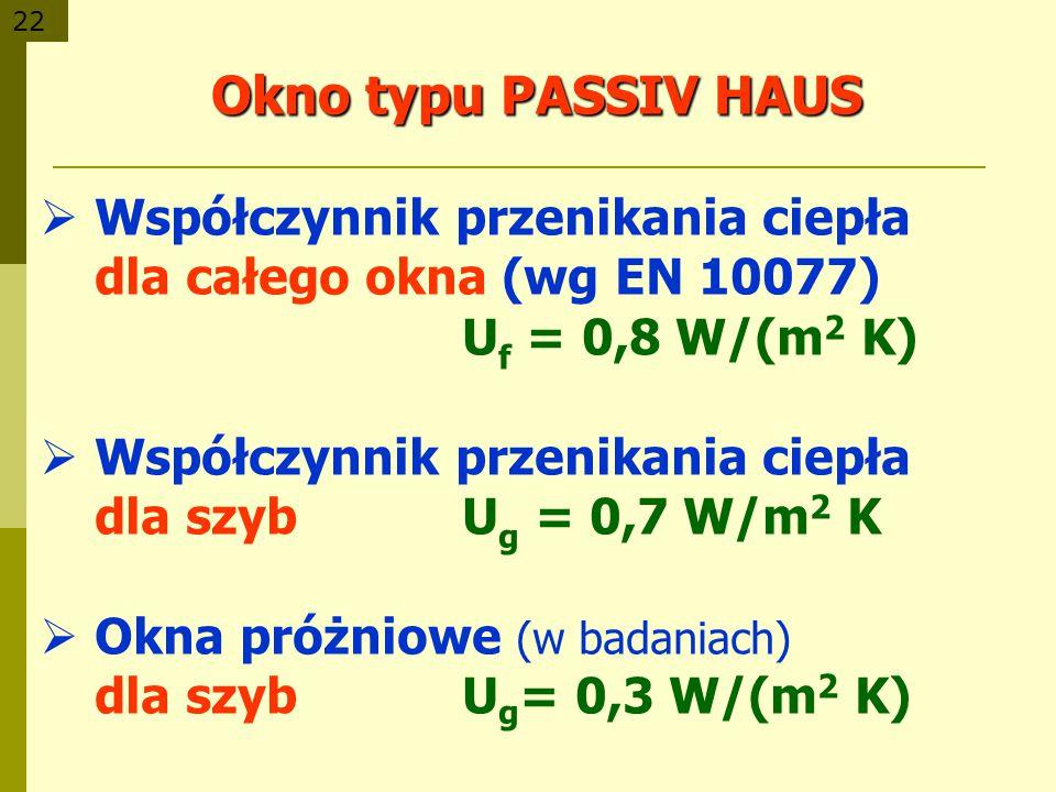 22 Okno typu PASSIV HAUS Współczynnik przenikania ciepła dla całego okna (wg EN 10077) U f = 0,8 W/(m 2 K) Współczynnik przenikania ciepła dla szybU g