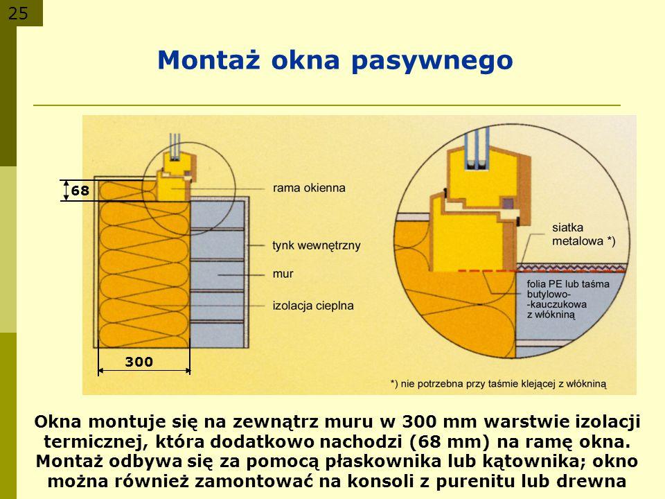 25 Montaż okna pasywnego Okna montuje się na zewnątrz muru w 300 mm warstwie izolacji termicznej, która dodatkowo nachodzi (68 mm) na ramę okna. Monta