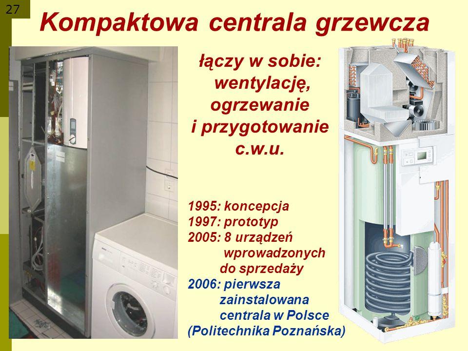 27 1995: koncepcja 1997: prototyp 2005: 8 urządzeń wprowadzonych do sprzedaży 2006: pierwsza zainstalowana centrala w Polsce (Politechnika Poznańska)
