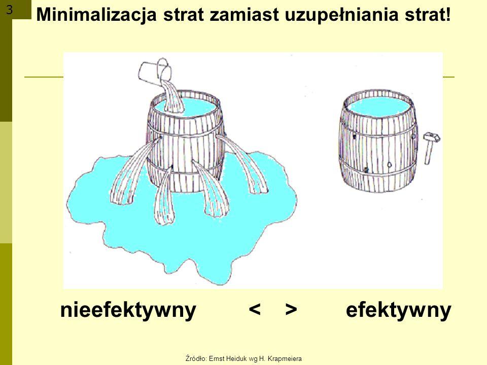 3 Minimalizacja strat zamiast uzupełniania strat! nieefektywny efektywny Źródło: Ernst Heiduk wg H. Krapmeiera