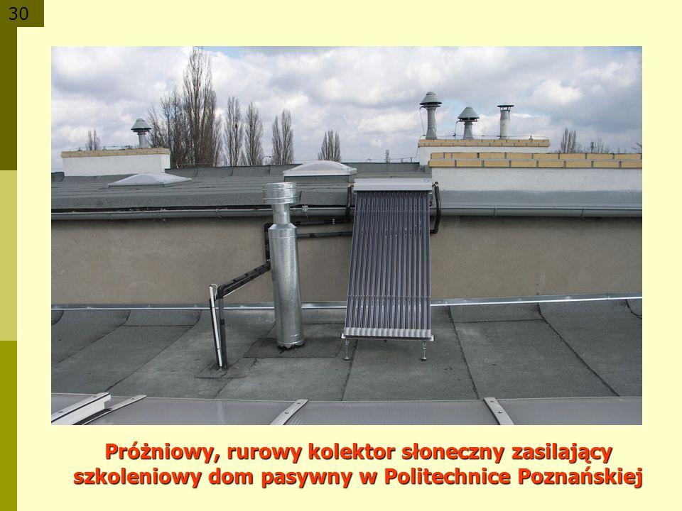 30 Próżniowy, rurowy kolektor słoneczny zasilający szkoleniowy dom pasywny w Politechnice Poznańskiej