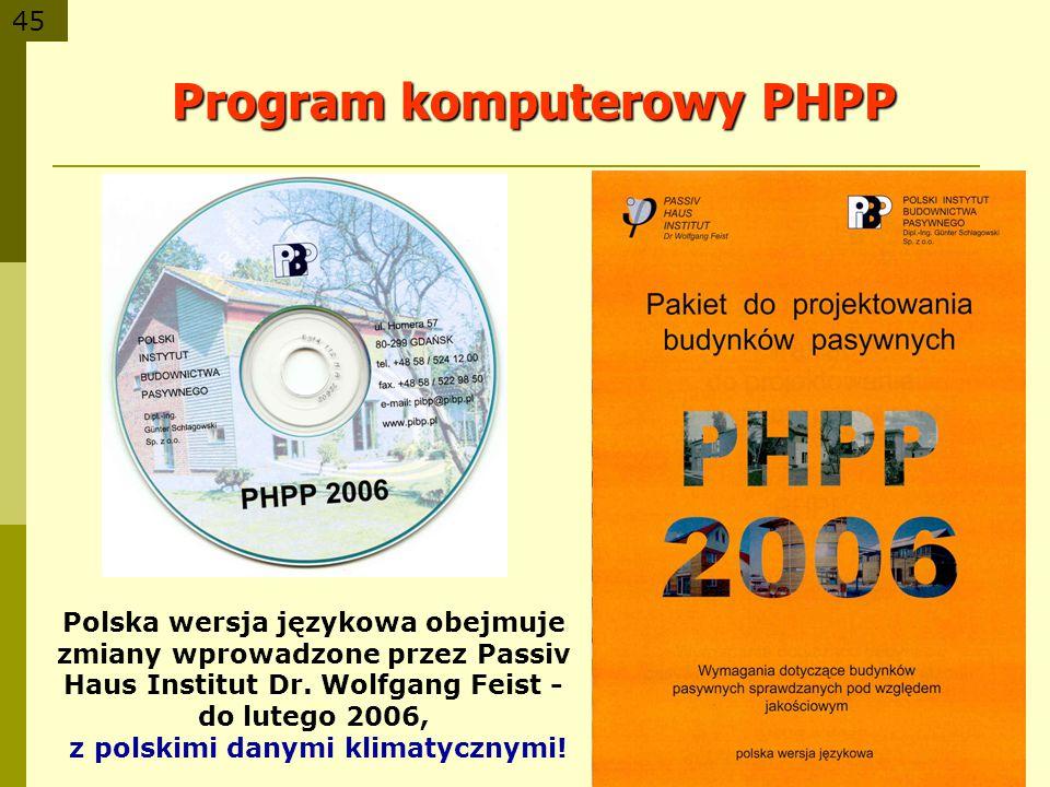 45 Program komputerowy PHPP Polska wersja językowa obejmuje zmiany wprowadzone przez Passiv Haus Institut Dr. Wolfgang Feist - do lutego 2006, z polsk