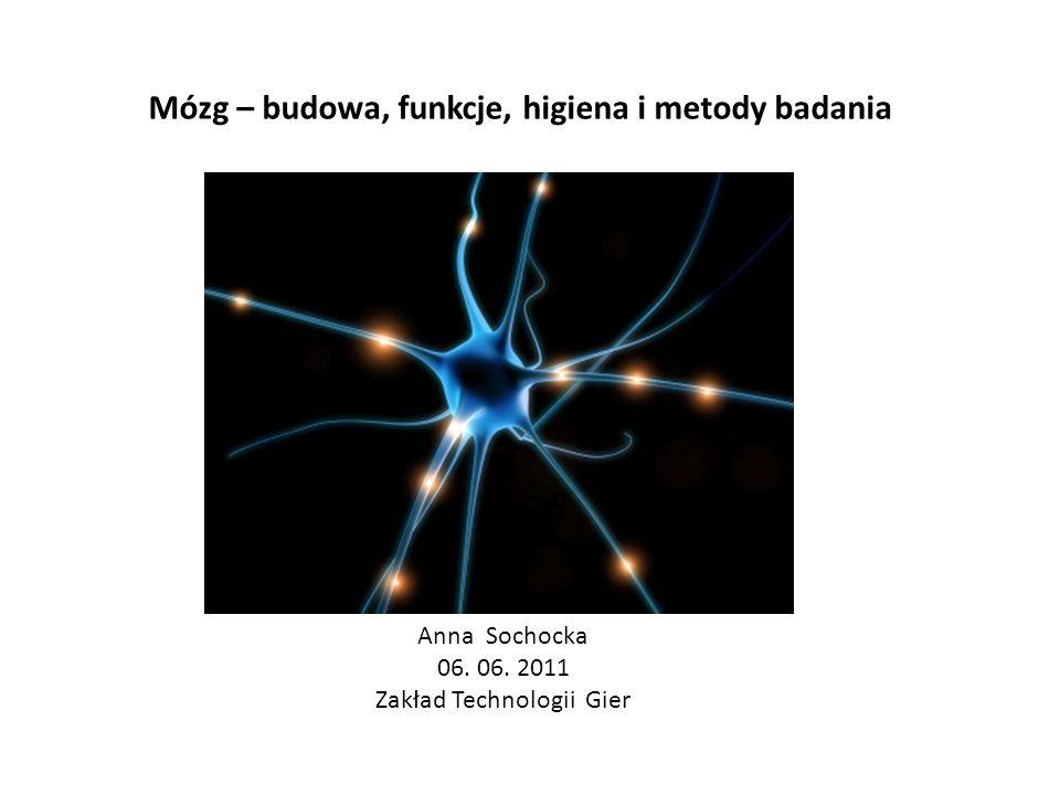 Mózg – budowa, funkcje, higiena i metody badania Anna Sochocka 06. 06. 2011 Zakład Technologii Gier