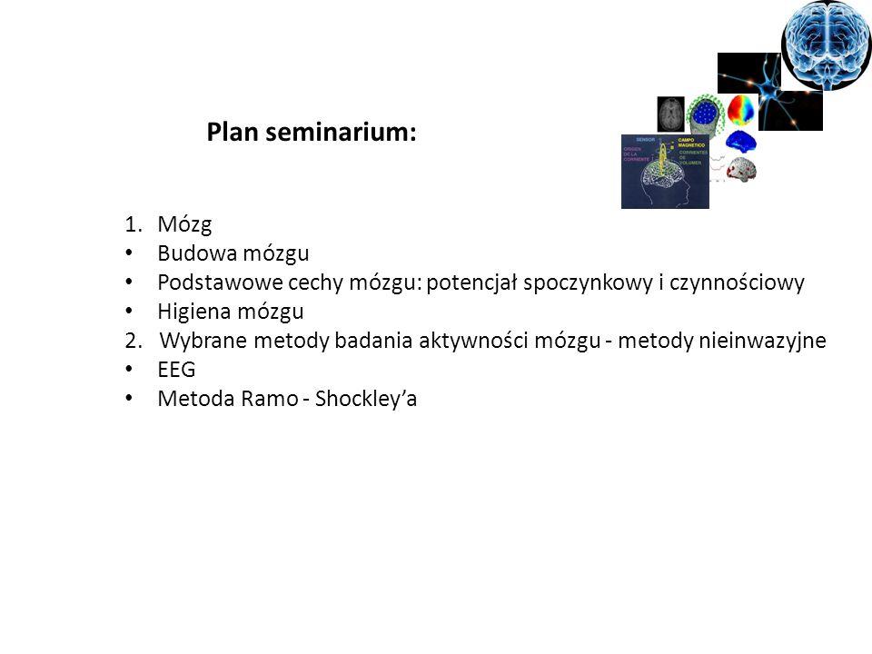 Plan seminarium: 1.Mózg Budowa mózgu Podstawowe cechy mózgu: potencjał spoczynkowy i czynnościowy Higiena mózgu 2. Wybrane metody badania aktywności m
