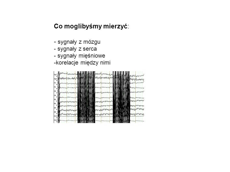 Co moglibyśmy mierzyć: - sygnały z mózgu - sygnały z serca - sygnały mięśniowe -korelacje między nimi