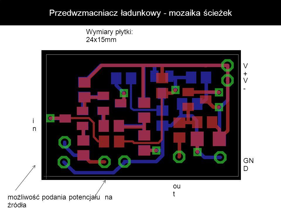 Przedwzmacniacz ładunkowy - mozaika ścieżek inin możliwość podania potencjału na źródła GN D V+V+ V-V- ou t Wymiary płytki: 24x15mm
