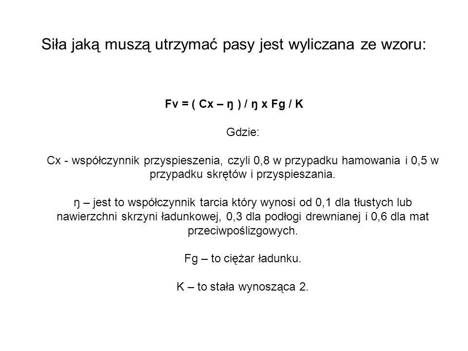 Siła jaką muszą utrzymać pasy jest wyliczana ze wzoru: Fv = ( Cx – ŋ ) / ŋ x Fg / K Gdzie: Cx - współczynnik przyspieszenia, czyli 0,8 w przypadku ham