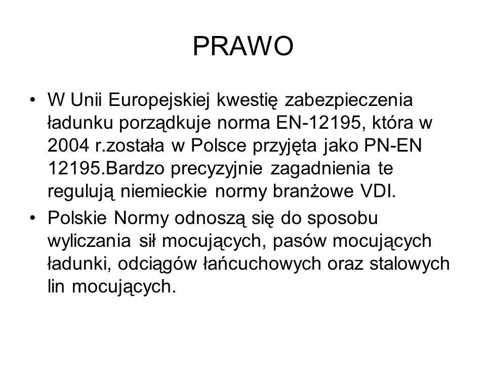 PRAWO W Unii Europejskiej kwestię zabezpieczenia ładunku porządkuje norma EN-12195, która w 2004 r.została w Polsce przyjęta jako PN-EN 12195.Bardzo p