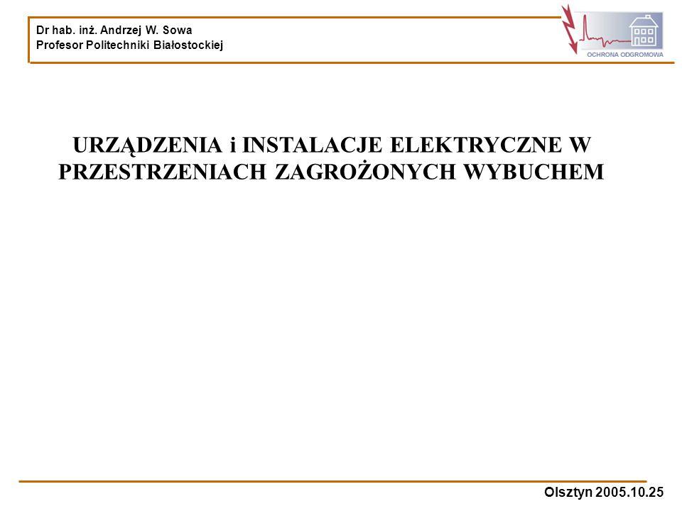 Dr hab. inż. Andrzej W. Sowa Profesor Politechniki Białostockiej Olsztyn 2005.10.25 URZĄDZENIA i INSTALACJE ELEKTRYCZNE W PRZESTRZENIACH ZAGROŻONYCH W