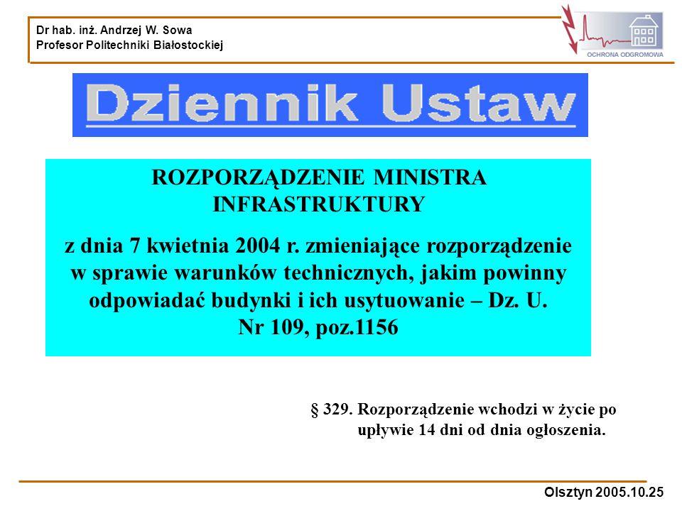 Dr hab. inż. Andrzej W. Sowa Profesor Politechniki Białostockiej Olsztyn 2005.10.25 ROZPORZĄDZENIE MINISTRA INFRASTRUKTURY z dnia 7 kwietnia 2004 r. z