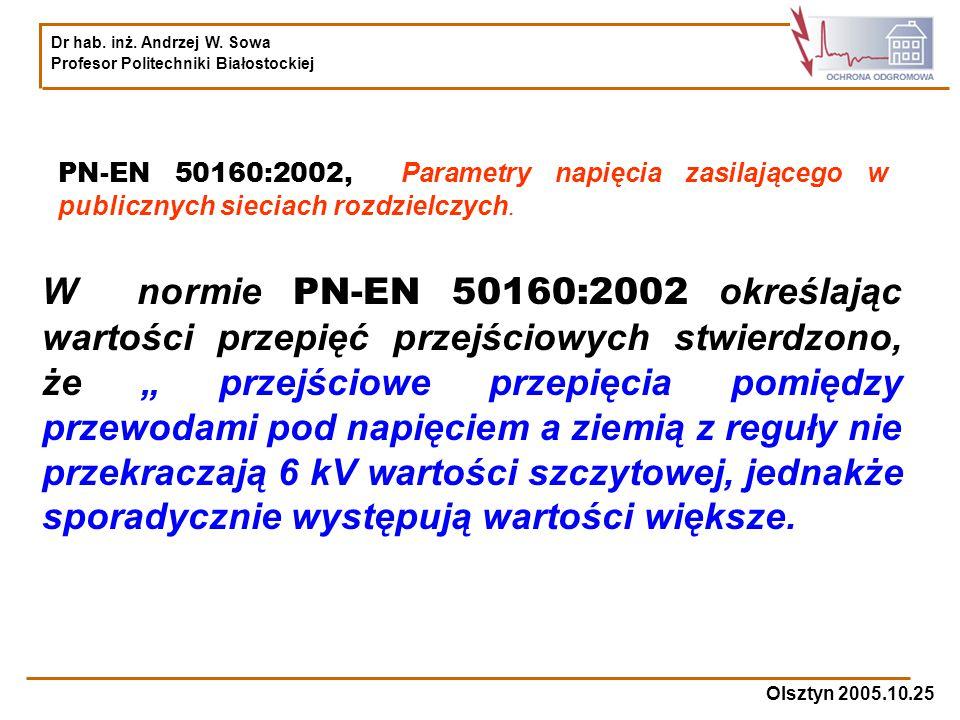 Dr hab. inż. Andrzej W. Sowa Profesor Politechniki Białostockiej Olsztyn 2005.10.25 PN-EN 50160:2002, Parametry napięcia zasilającego w publicznych si