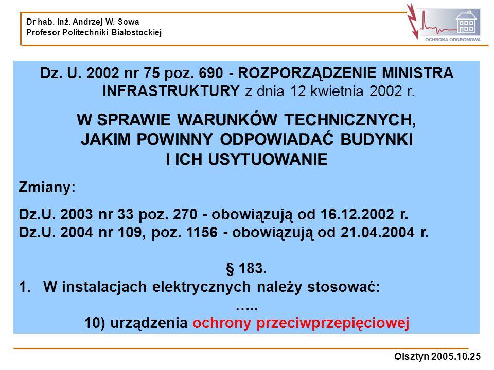 Dr hab. inż. Andrzej W. Sowa Profesor Politechniki Białostockiej Olsztyn 2005.10.25 Dz. U. 2002 nr 75 poz. 690 - ROZPORZĄDZENIE MINISTRA INFRASTRUKTUR