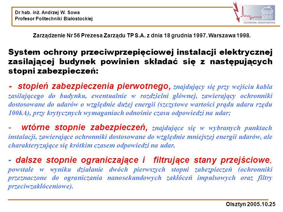 Dr hab. inż. Andrzej W. Sowa Profesor Politechniki Białostockiej Olsztyn 2005.10.25 Zarządzenie Nr 56 Prezesa Zarządu TP S.A. z dnia 18 grudnia 1997.
