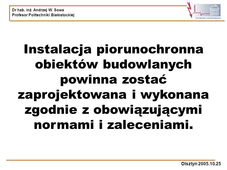 Dr hab. inż. Andrzej W. Sowa Profesor Politechniki Białostockiej Olsztyn 2005.10.25