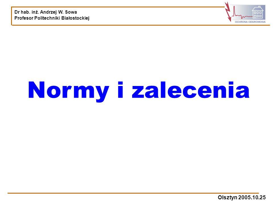 Dr hab. inż. Andrzej W. Sowa Profesor Politechniki Białostockiej Olsztyn 2005.10.25 Normy i zalecenia