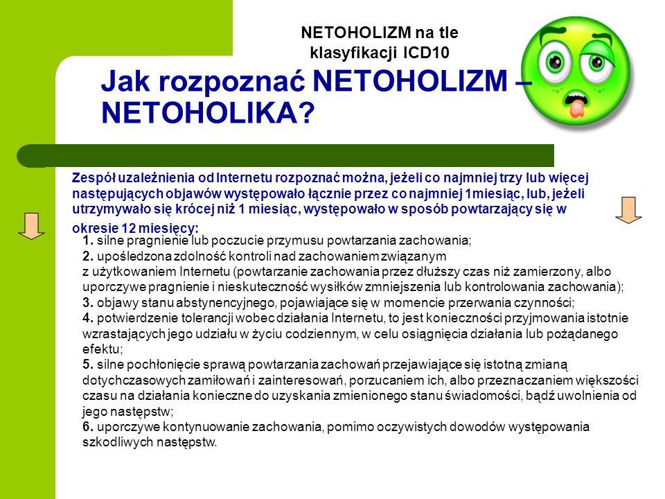 Jak rozpoznać NETOHOLIZM – NETOHOLIKA? Zespół uzależnienia od Internetu rozpoznać można, jeżeli co najmniej trzy lub więcej następujących objawów wyst