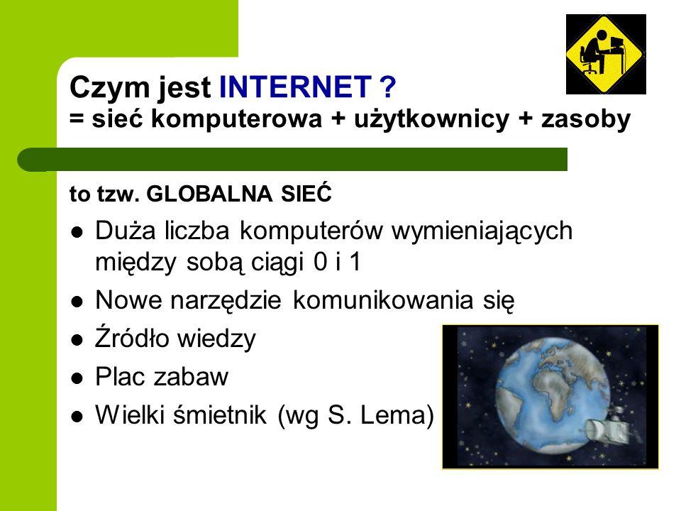 Czym jest INTERNET ? = sieć komputerowa + użytkownicy + zasoby to tzw. GLOBALNA SIEĆ Duża liczba komputerów wymieniających między sobą ciągi 0 i 1 Now