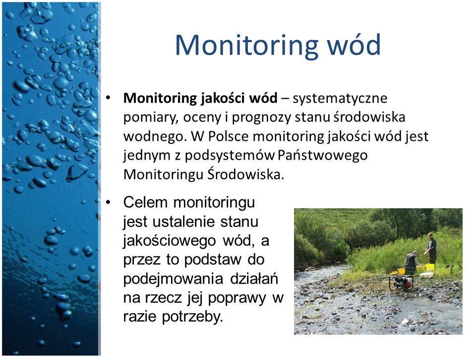 Monitoring wód Monitoring jakości wód – systematyczne pomiary, oceny i prognozy stanu środowiska wodnego. W Polsce monitoring jakości wód jest jednym