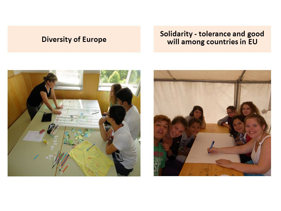 Diversity of Europe Solidarity - tolerance and good will among countries in EU