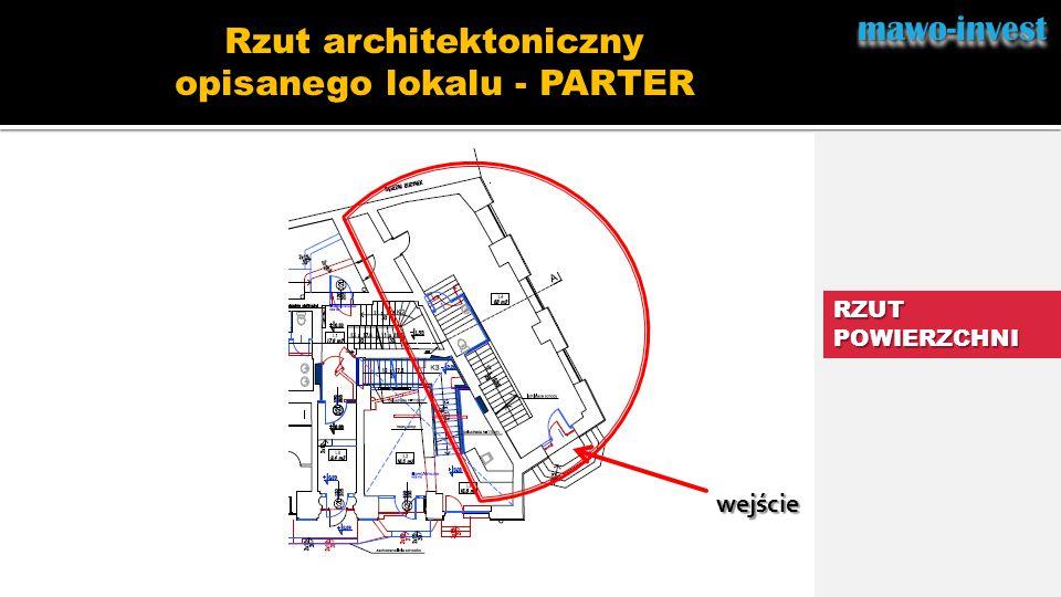 mawo-investmawo-invest RZUT POWIERZCHNI Rzut architektoniczny opisanego lokalu - PARTER wejście