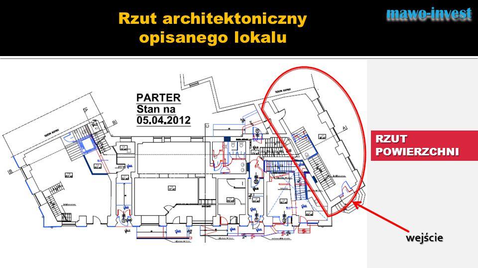 mawo-investmawo-invest RZUT POWIERZCHNI Rzut architektoniczny opisanego lokalu wejście