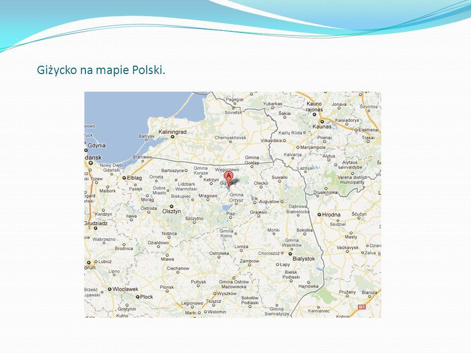 Giżycko na mapie Polski.