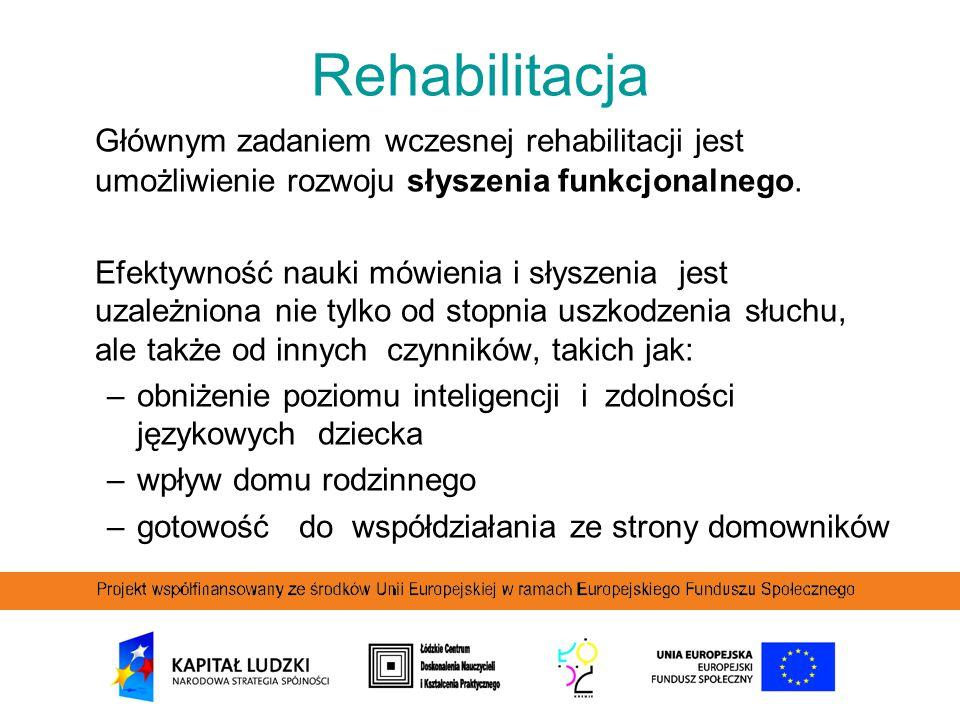 Rehabilitacja Głównym zadaniem wczesnej rehabilitacji jest umożliwienie rozwoju słyszenia funkcjonalnego. Efektywność nauki mówienia i słyszenia jest