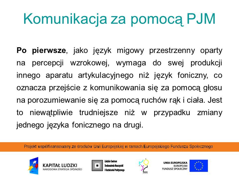 Komunikacja za pomocą PJM Po pierwsze, jako język migowy przestrzenny oparty na percepcji wzrokowej, wymaga do swej produkcji innego aparatu artykulac