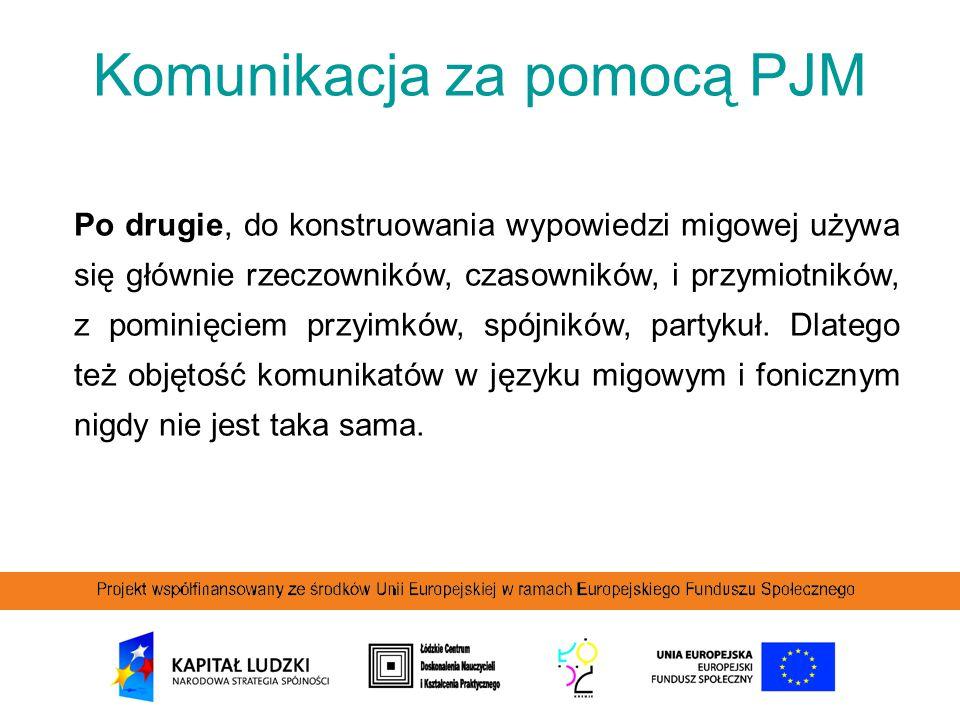 Komunikacja za pomocą PJM Po drugie, do konstruowania wypowiedzi migowej używa się głównie rzeczowników, czasowników, i przymiotników, z pominięciem p