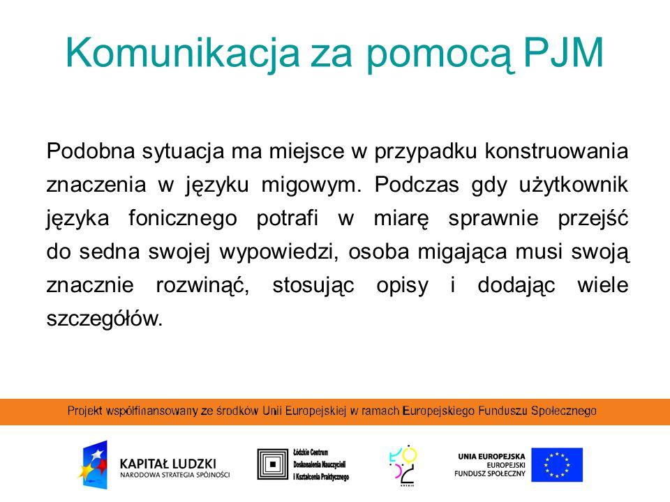 Komunikacja za pomocą PJM Podobna sytuacja ma miejsce w przypadku konstruowania znaczenia w języku migowym. Podczas gdy użytkownik języka fonicznego p