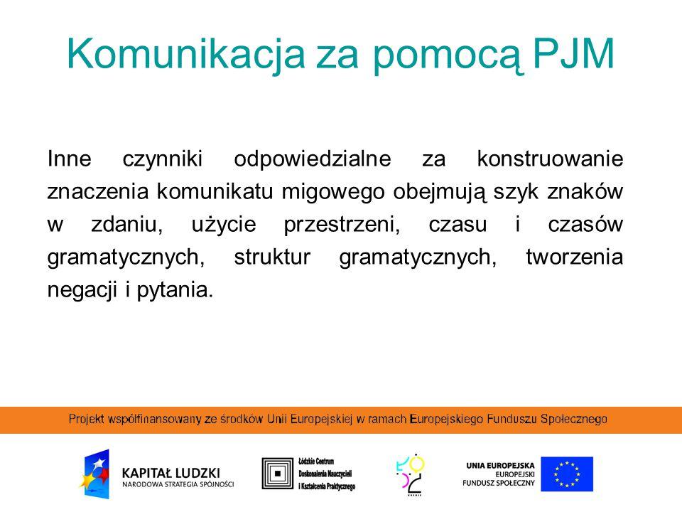 Komunikacja za pomocą PJM Inne czynniki odpowiedzialne za konstruowanie znaczenia komunikatu migowego obejmują szyk znaków w zdaniu, użycie przestrzen