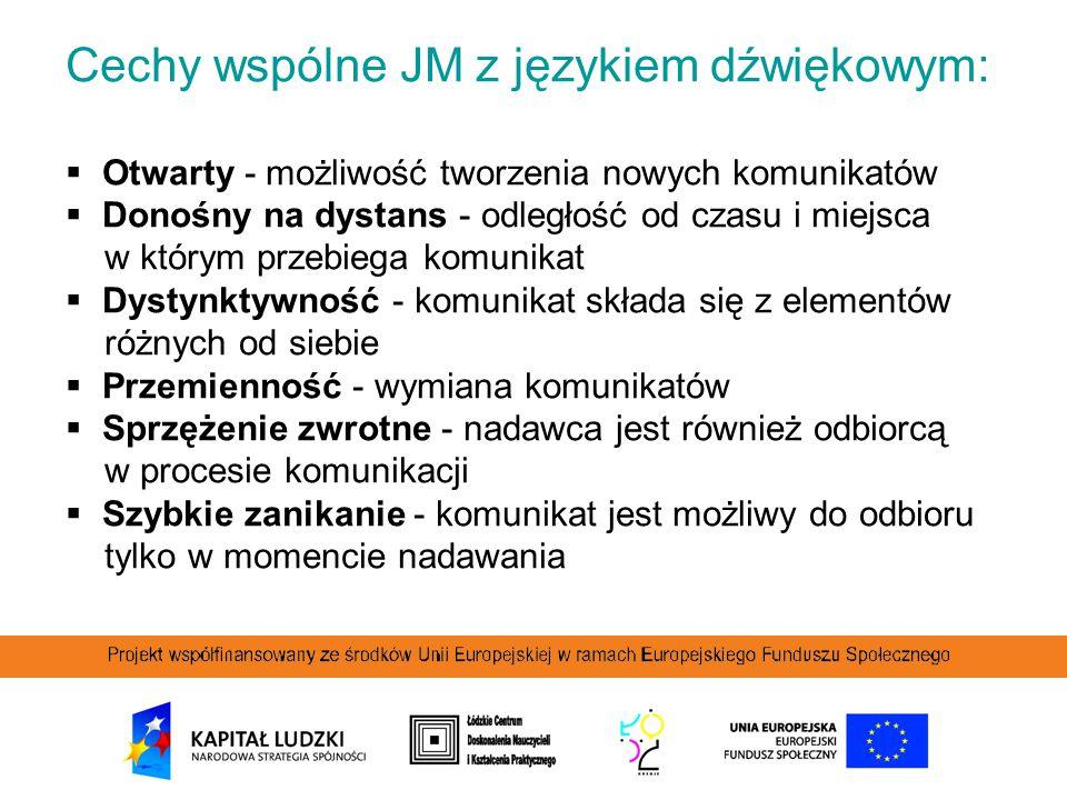 Cechy wspólne JM z językiem dźwiękowym:  Otwarty - możliwość tworzenia nowych komunikatów  Donośny na dystans - odległość od czasu i miejsca w który